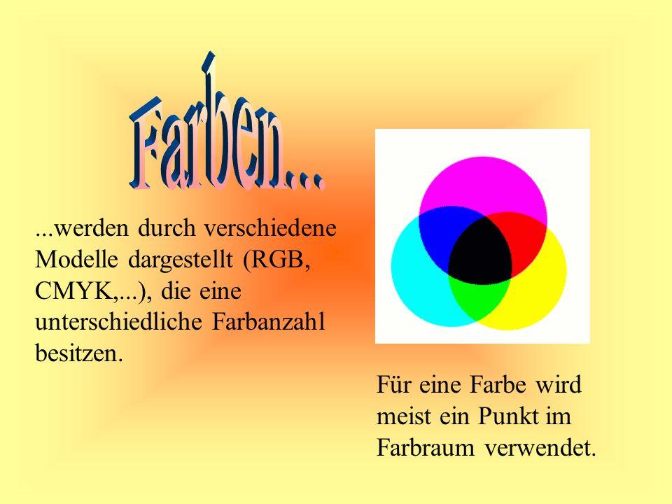 ...werden durch verschiedene Modelle dargestellt (RGB, CMYK,...), die eine unterschiedliche Farbanzahl besitzen.