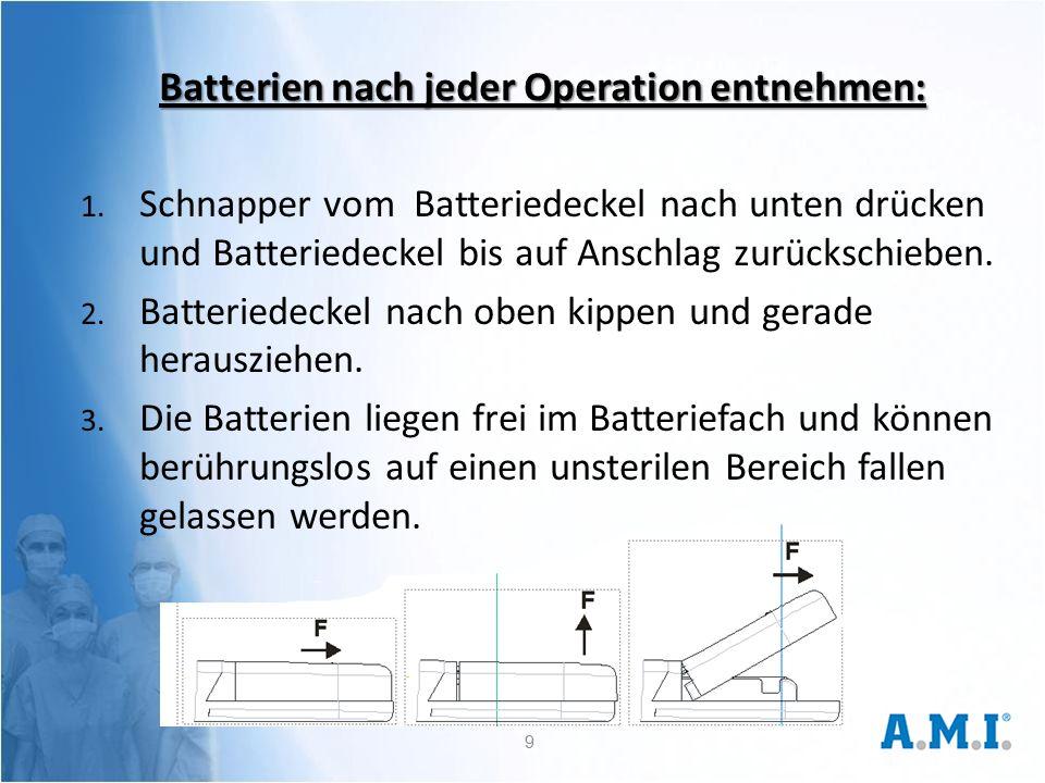 Batterien nach jeder Operation entnehmen: 1.