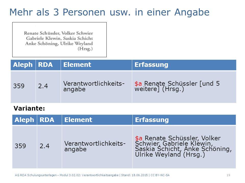 AG RDA Schulungsunterlagen – Modul 3.02.02: Verantwortlichkeitsangabe | Stand: 18.06.2015 | CC BY-NC-SA AlephRDAElementErfassung 3592.4 Verantwortlichkeits- angabe $a Renate Schüssler [und 5 weitere] (Hrsg.) Mehr als 3 Personen usw.