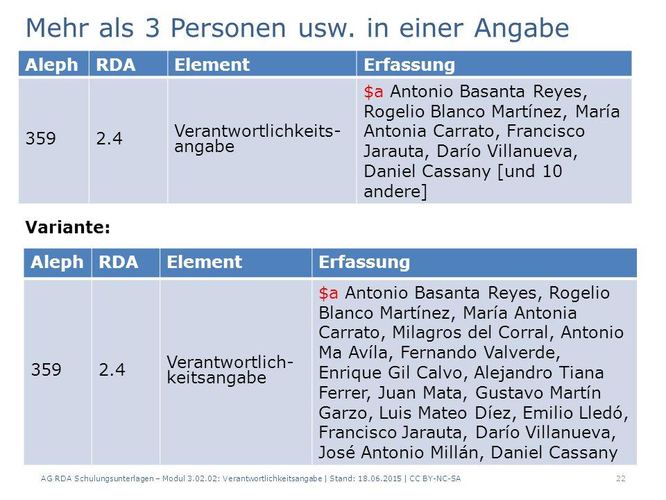 AG RDA Schulungsunterlagen – Modul 3.02.02: Verantwortlichkeitsangabe | Stand: 18.06.2015 | CC BY-NC-SA Mehr als 3 Personen usw.