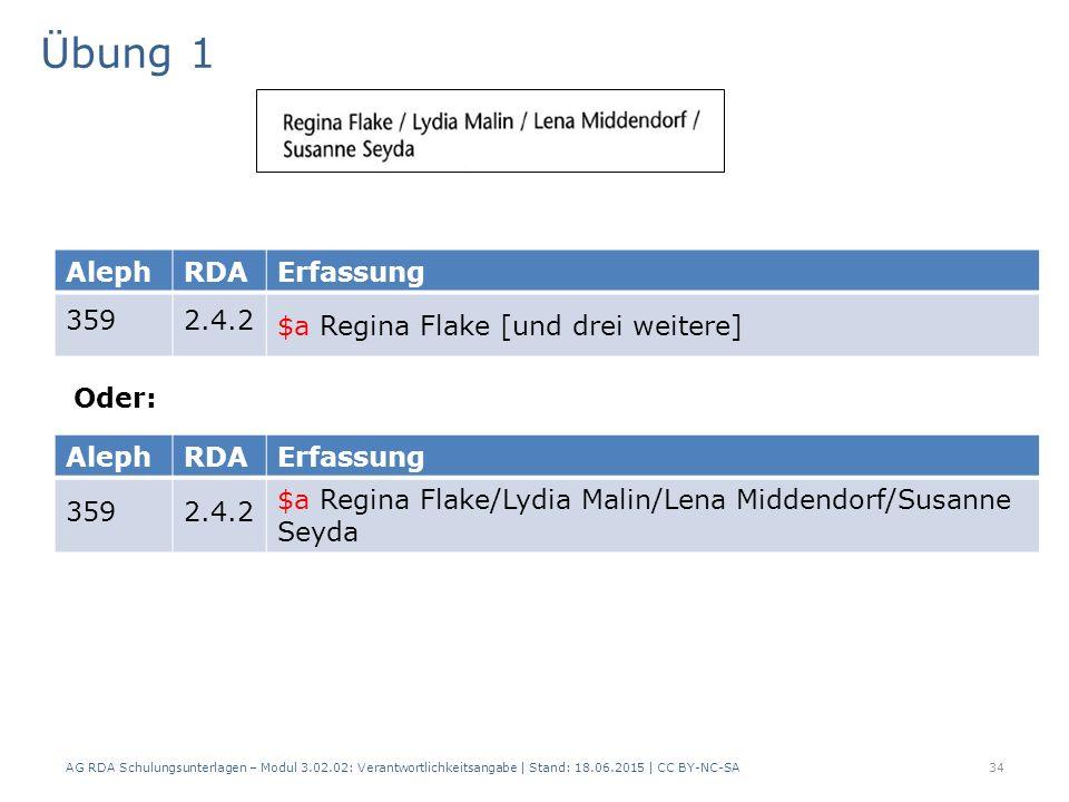 Übung 1 AG RDA Schulungsunterlagen – Modul 3.02.02: Verantwortlichkeitsangabe | Stand: 18.06.2015 | CC BY-NC-SA 34 AlephRDAErfassung 3592.4.2 $a Regina Flake [und drei weitere] AlephRDAErfassung 3592.4.2 $a Regina Flake/Lydia Malin/Lena Middendorf/Susanne Seyda Oder: