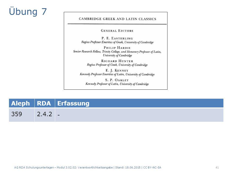 Übung 7 AG RDA Schulungsunterlagen – Modul 3.02.02: Verantwortlichkeitsangabe | Stand: 18.06.2015 | CC BY-NC-SA 41 AlephRDAErfassung 3592.4.2 -