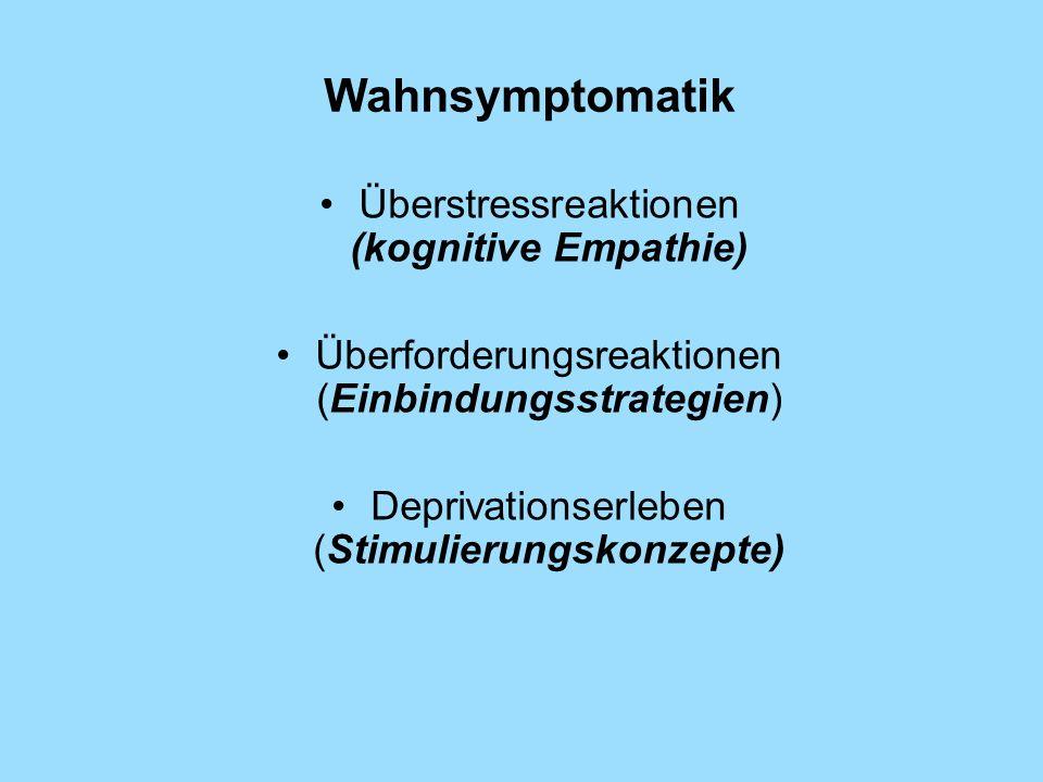 Wahnsymptomatik Überstressreaktionen (kognitive Empathie) Überforderungsreaktionen (Einbindungsstrategien) Deprivationserleben (Stimulierungskonzepte)
