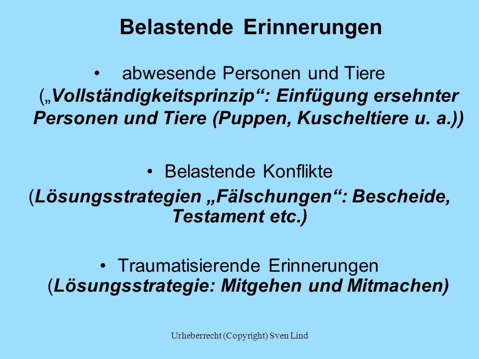 """Belastende Erinnerungen abwesende Personen und Tiere (""""Vollständigkeitsprinzip"""": Einfügung ersehnter Personen und Tiere (Puppen, Kuscheltiere u. a.))"""