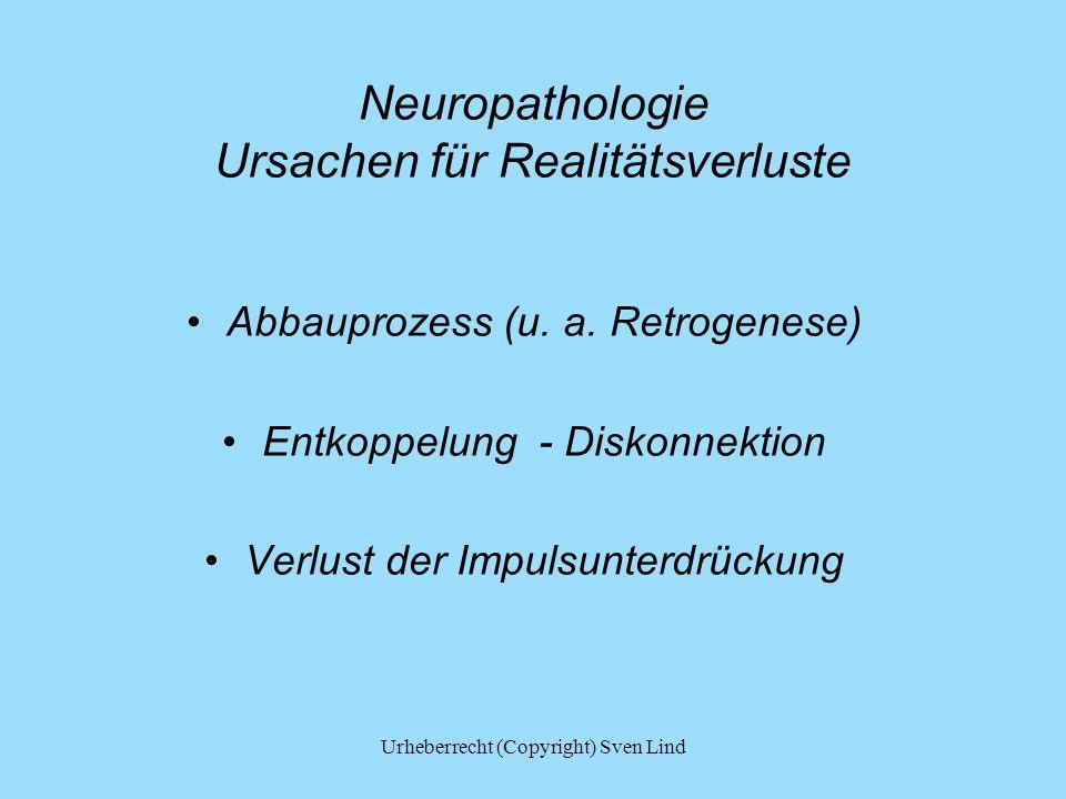 Neuropathologie Ursachen für Realitätsverluste Abbauprozess (u. a. Retrogenese) Entkoppelung - Diskonnektion Verlust der Impulsunterdrückung Urheberre