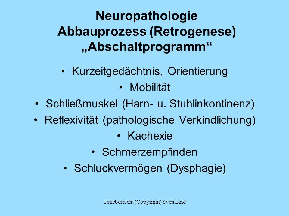 """Neuropathologie Abbauprozess (Retrogenese) """"Abschaltprogramm"""" Kurzeitgedächtnis, Orientierung Mobilität Schließmuskel (Harn- u. Stuhlinkontinenz) Refl"""