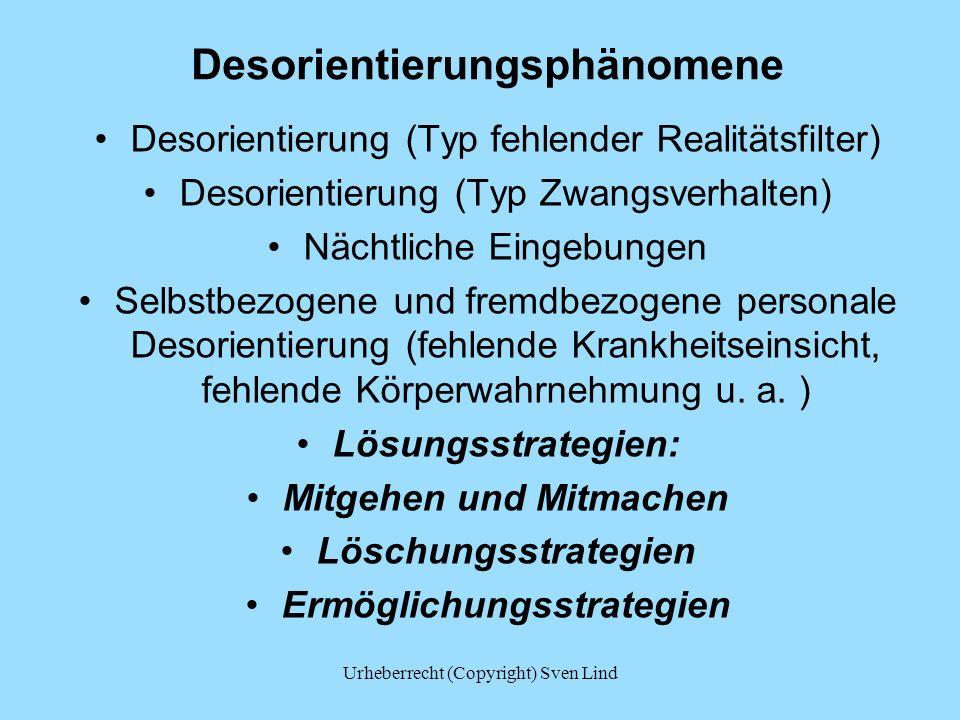 Desorientierungsphänomene Desorientierung (Typ fehlender Realitätsfilter) Desorientierung (Typ Zwangsverhalten) Nächtliche Eingebungen Selbstbezogene