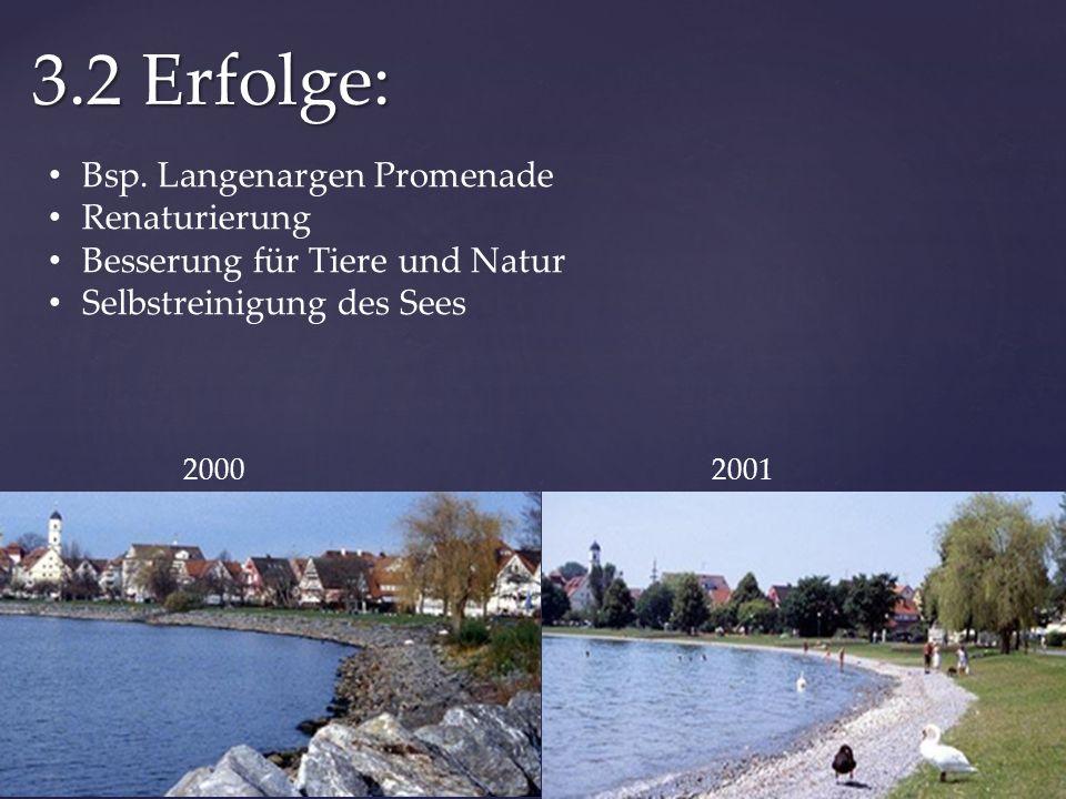 3.2 Erfolge: 20002001 Bsp. Langenargen Promenade Renaturierung Besserung für Tiere und Natur Selbstreinigung des Sees