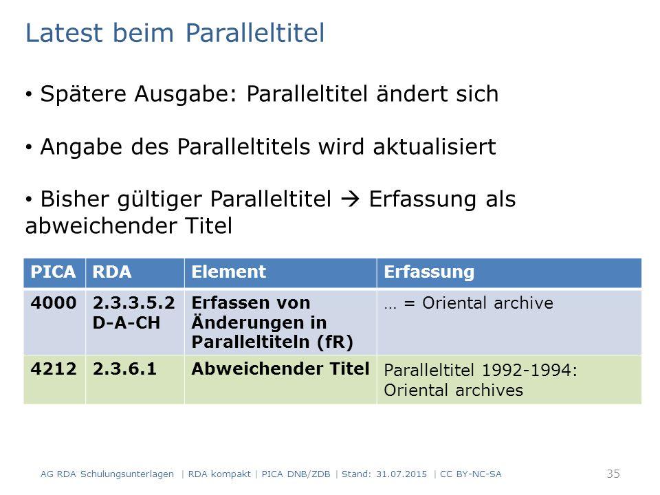 AG RDA Schulungsunterlagen | RDA kompakt | PICA DNB/ZDB | Stand: 31.07.2015 | CC BY-NC-SA 35 Latest beim Paralleltitel Spätere Ausgabe: Paralleltitel ändert sich Angabe des Paralleltitels wird aktualisiert Bisher gültiger Paralleltitel  Erfassung als abweichender Titel PICARDAElementErfassung 40002.3.3.5.2 D-A-CH Erfassen von Änderungen in Paralleltiteln (fR) … = Oriental archive 42122.3.6.1Abweichender Titel Paralleltitel 1992-1994: Oriental archives