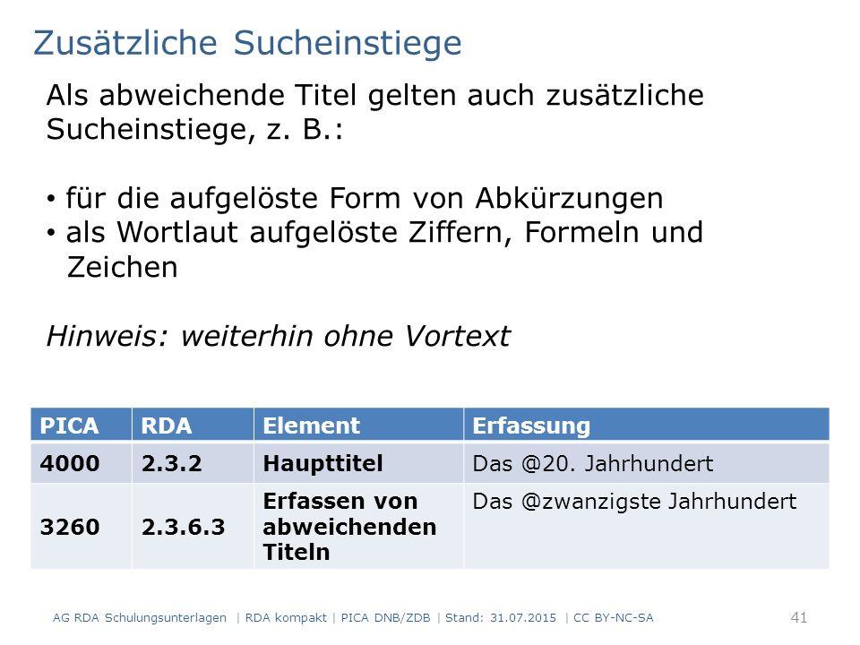AG RDA Schulungsunterlagen | RDA kompakt | PICA DNB/ZDB | Stand: 31.07.2015 | CC BY-NC-SA 41 Zusätzliche Sucheinstiege Als abweichende Titel gelten auch zusätzliche Sucheinstiege, z.