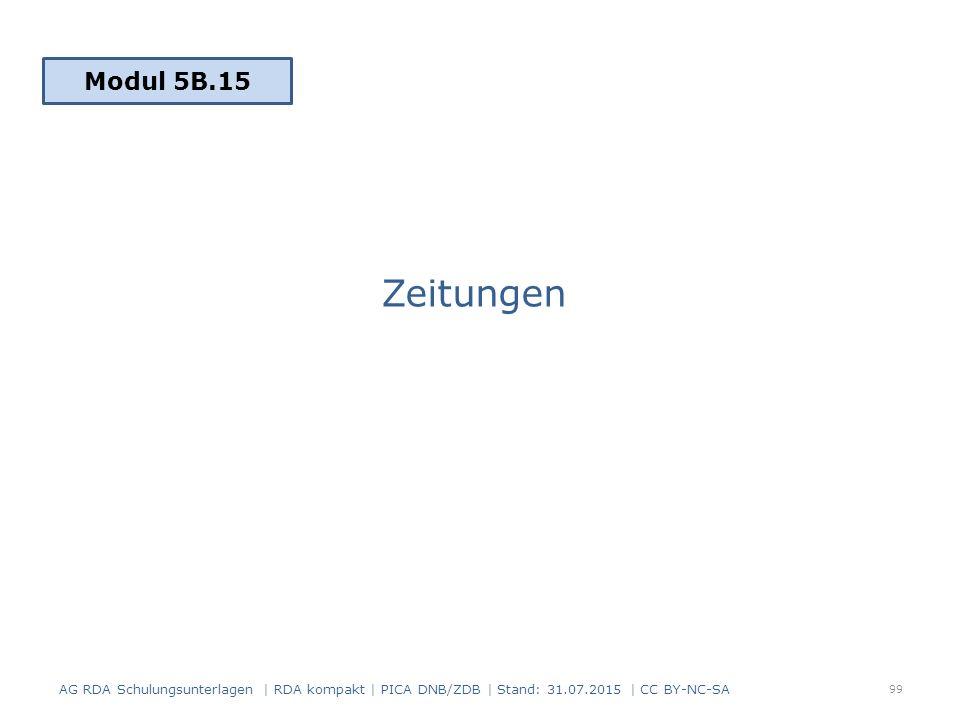 Zeitungen 99 Modul 5B.15 AG RDA Schulungsunterlagen | RDA kompakt | PICA DNB/ZDB | Stand: 31.07.2015 | CC BY-NC-SA