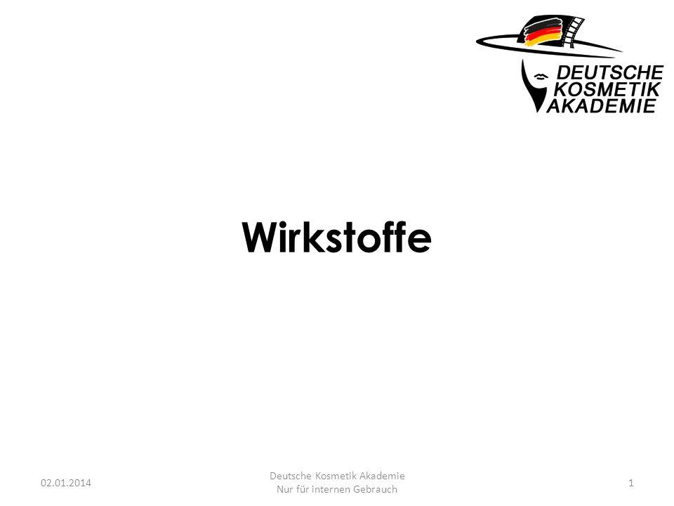 Wirkstoffe 02.01.20141 Deutsche Kosmetik Akademie Nur für internen Gebrauch