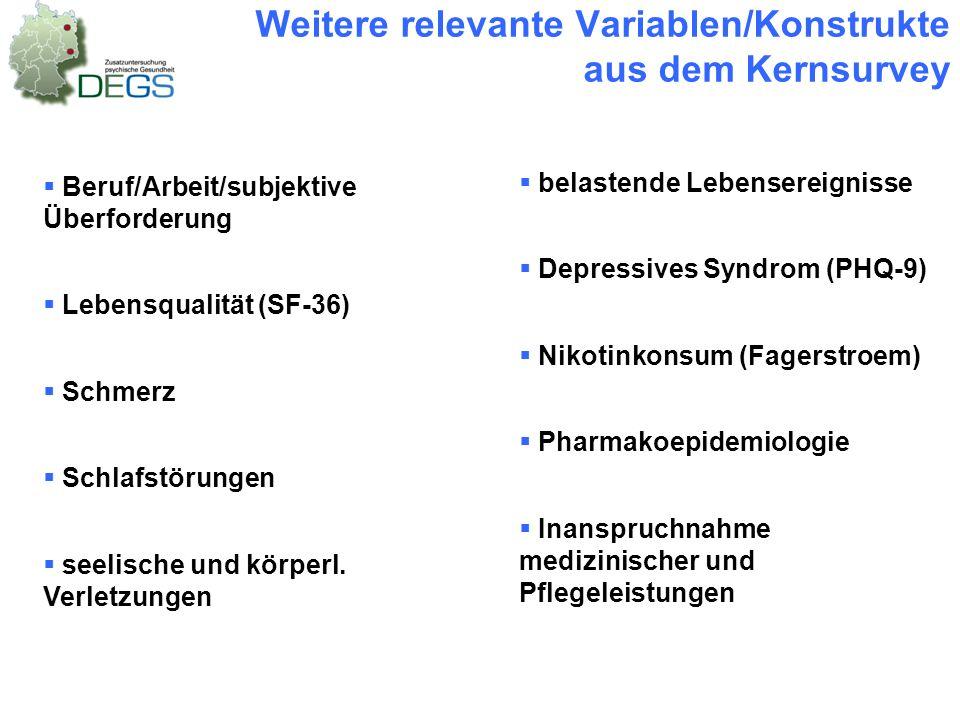 Weitere relevante Variablen/Konstrukte aus dem Kernsurvey  Beruf/Arbeit/subjektive Überforderung  Lebensqualität (SF-36)  Schmerz  Schlafstörungen