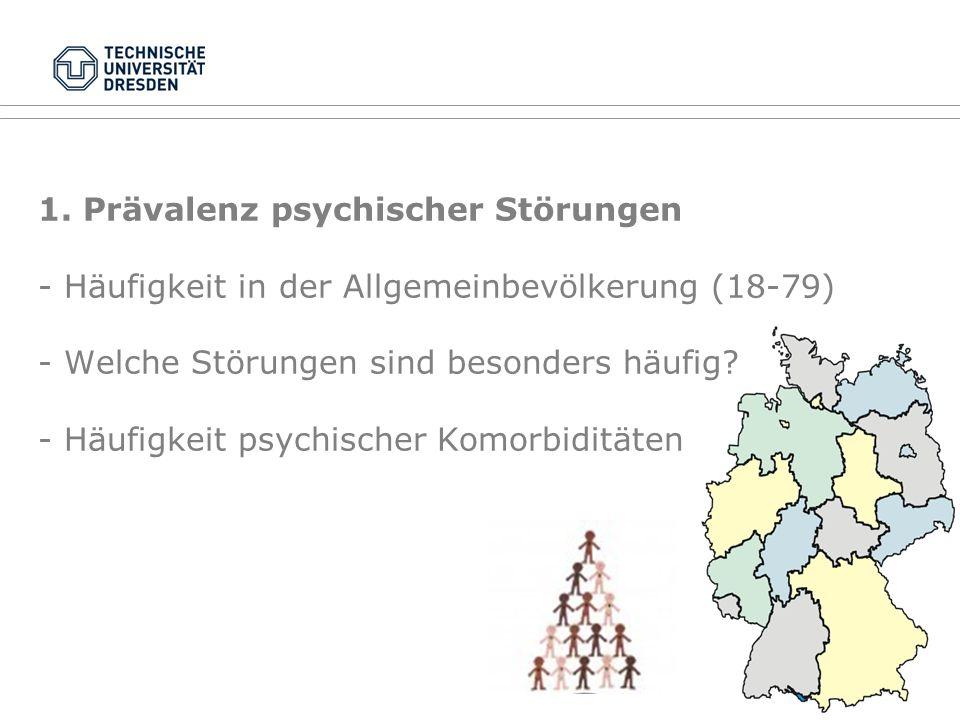 1. Prävalenz psychischer Störungen - Häufigkeit in der Allgemeinbevölkerung (18-79) - Welche Störungen sind besonders häufig? - Häufigkeit psychischer