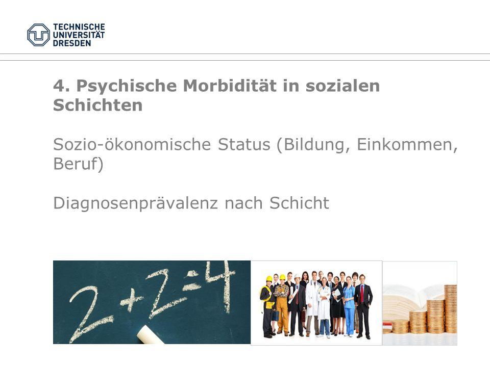 4. Psychische Morbidität in sozialen Schichten Sozio-ökonomische Status (Bildung, Einkommen, Beruf) Diagnosenprävalenz nach Schicht