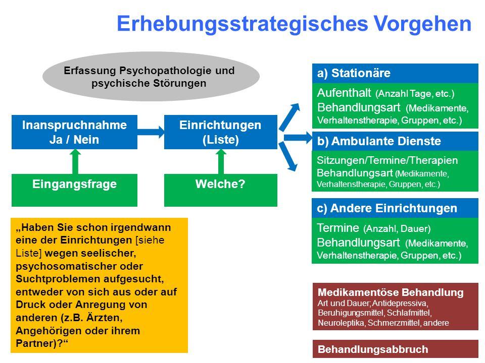 Erhebungsstrategisches Vorgehen Einrichtungen (Liste) Welche? a) Stationäre Einrichtungen Aufenthalt (Anzahl Tage, etc.) Behandlungsart (Medikamente,
