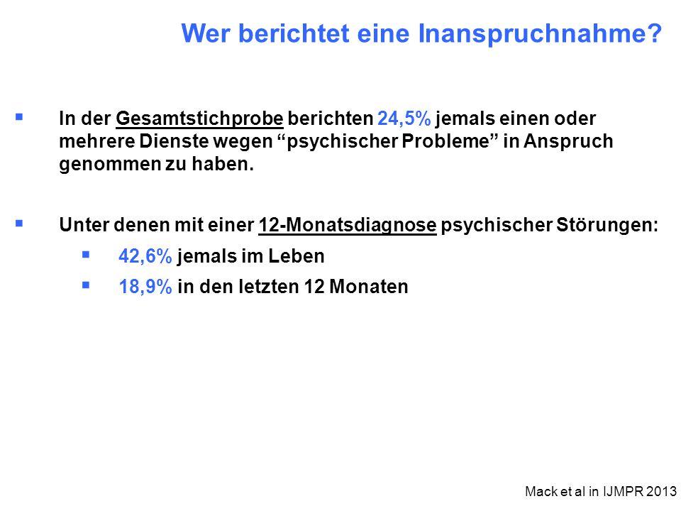 """ In der Gesamtstichprobe berichten 24,5% jemals einen oder mehrere Dienste wegen """"psychischer Probleme"""" in Anspruch genommen zu haben.  Unter denen"""