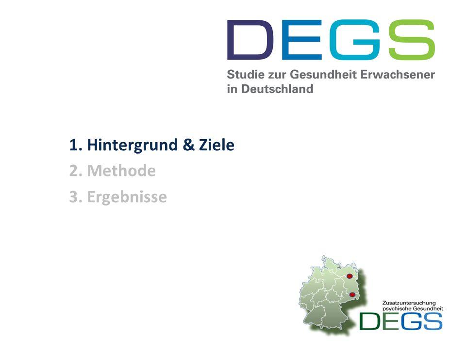Vorlesung Zusammenfassung Ziel der DEGS-Studie ist die kontinuierliche Erhebung bundesweit repräsentativer Gesundheitsdaten zu den in Deutschland lebenden Erwachsenen.