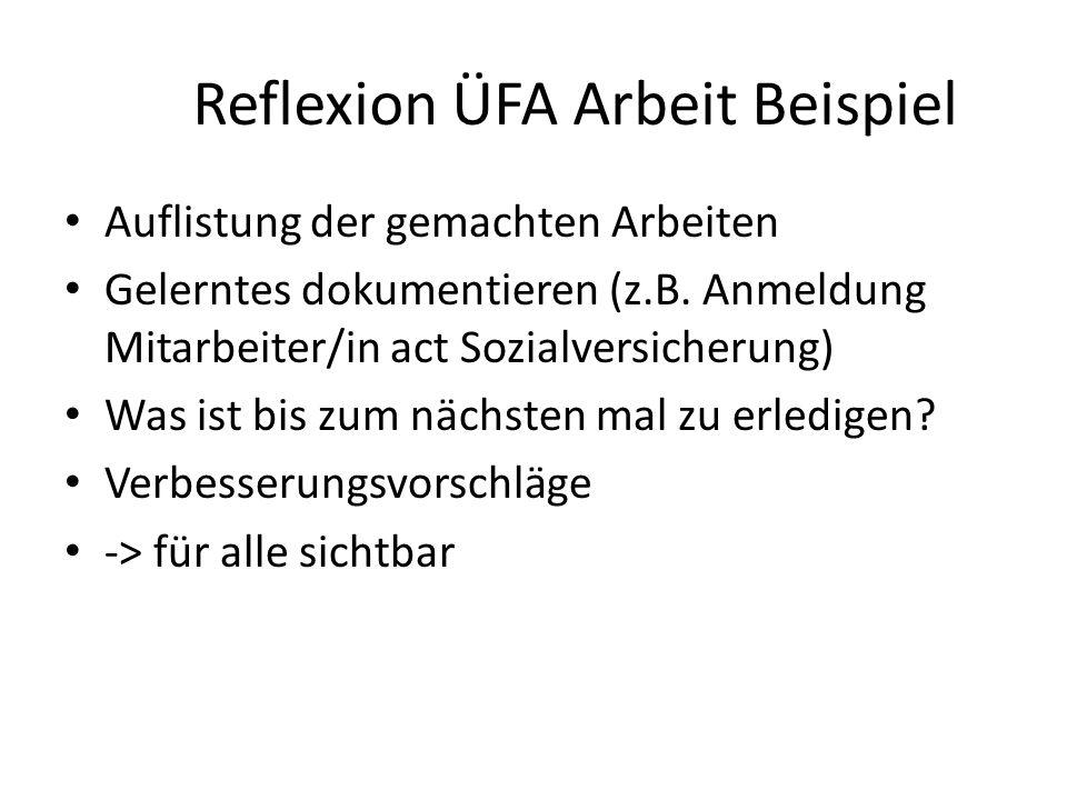 Reflexion am Ende des ÜFA-Tages (Beispiele) Was hat uns heute an der ÜFA-Arbeit gefallen? Welche Verbesserungsvorschläge haben wir? Was konnten wir le