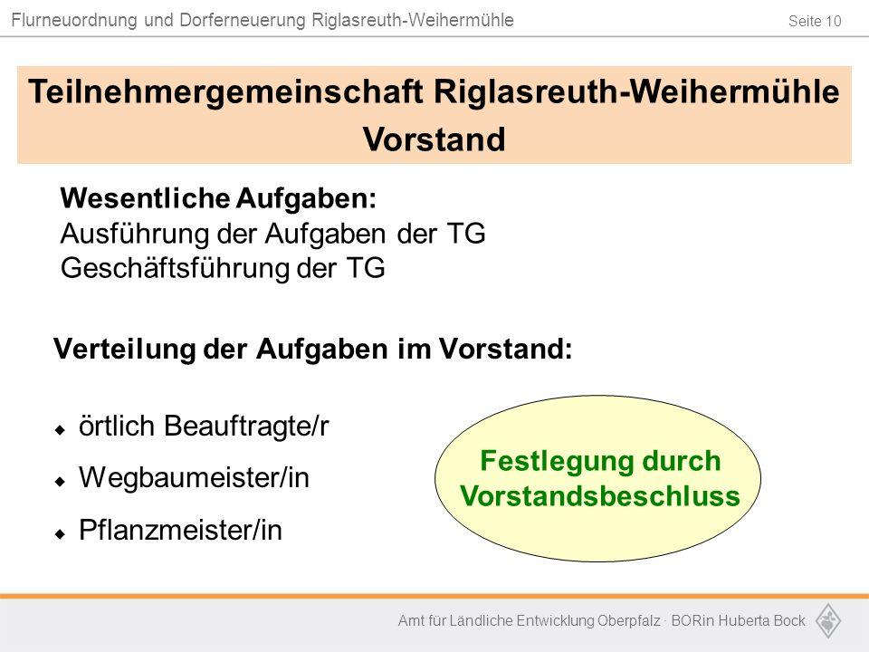 Seite 10 Flurneuordnung und Dorferneuerung Riglasreuth-Weihermühle Amt für Ländliche Entwicklung Oberpfalz · BORin Huberta Bock Verteilung der Aufgabe