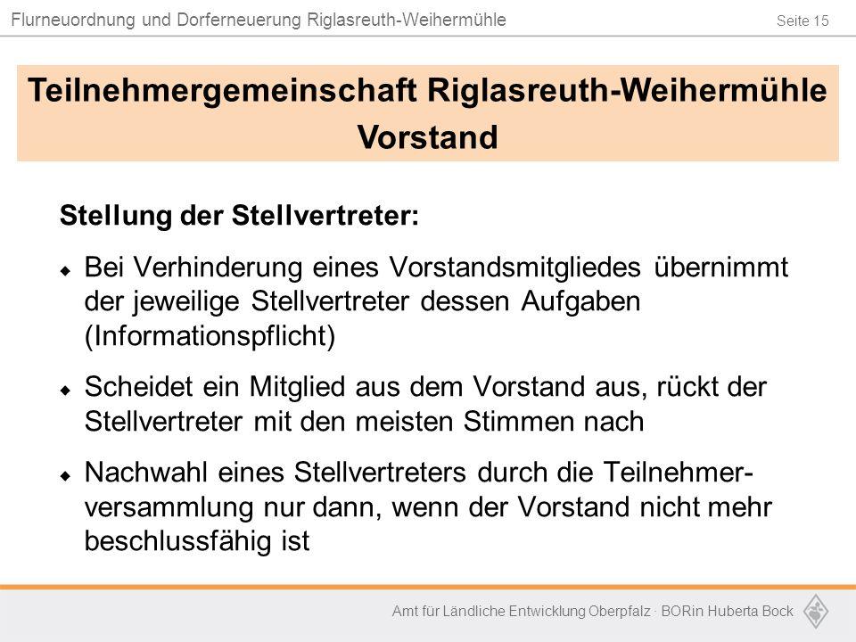 Seite 15 Flurneuordnung und Dorferneuerung Riglasreuth-Weihermühle Amt für Ländliche Entwicklung Oberpfalz · BORin Huberta Bock Stellung der Stellvert