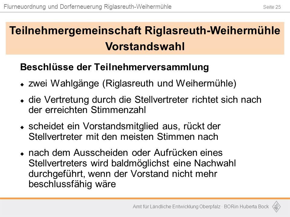 Seite 25 Flurneuordnung und Dorferneuerung Riglasreuth-Weihermühle Amt für Ländliche Entwicklung Oberpfalz · BORin Huberta Bock Beschlüsse der Teilneh