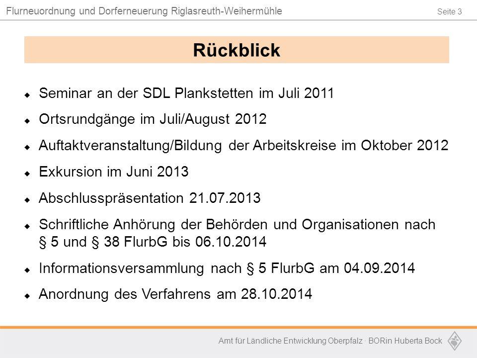 Seite 3 Flurneuordnung und Dorferneuerung Riglasreuth-Weihermühle Amt für Ländliche Entwicklung Oberpfalz · BORin Huberta Bock  Seminar an der SDL Pl