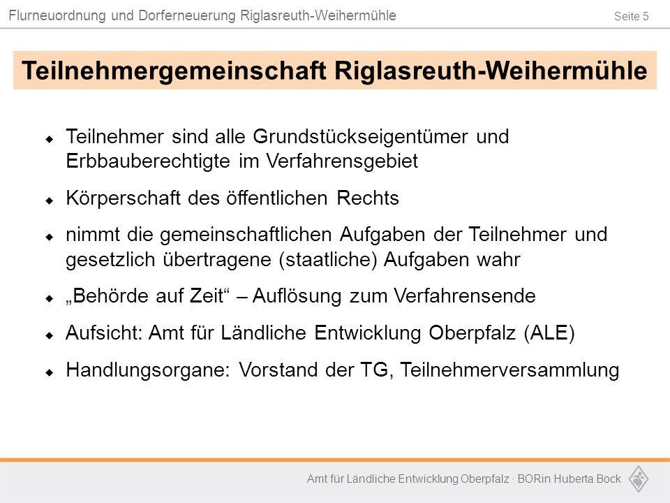 Seite 5 Flurneuordnung und Dorferneuerung Riglasreuth-Weihermühle Amt für Ländliche Entwicklung Oberpfalz · BORin Huberta Bock  Teilnehmer sind alle