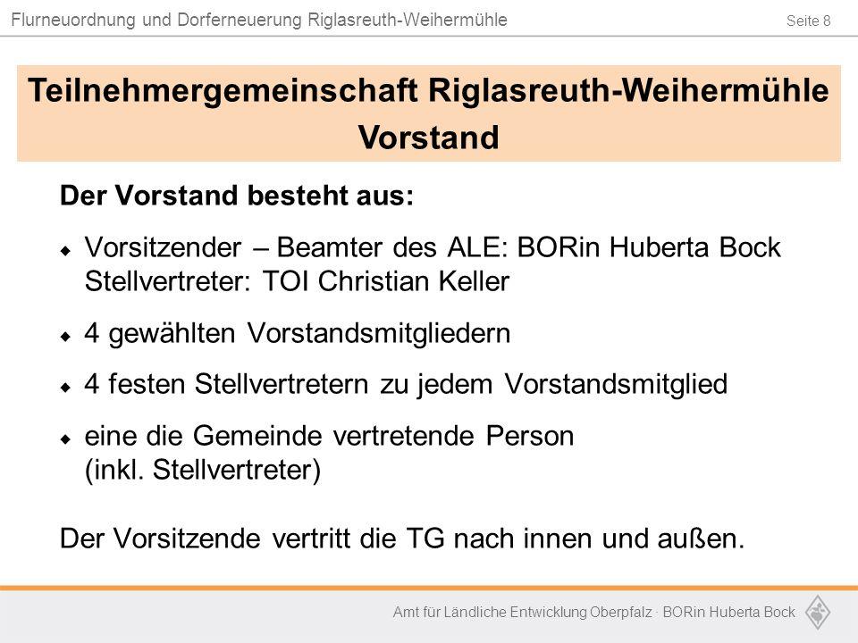 Seite 8 Flurneuordnung und Dorferneuerung Riglasreuth-Weihermühle Amt für Ländliche Entwicklung Oberpfalz · BORin Huberta Bock Der Vorstand besteht au