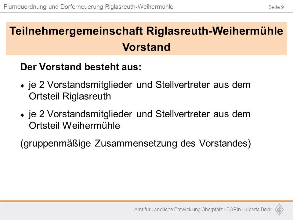 Seite 9 Flurneuordnung und Dorferneuerung Riglasreuth-Weihermühle Amt für Ländliche Entwicklung Oberpfalz · BORin Huberta Bock Der Vorstand besteht au