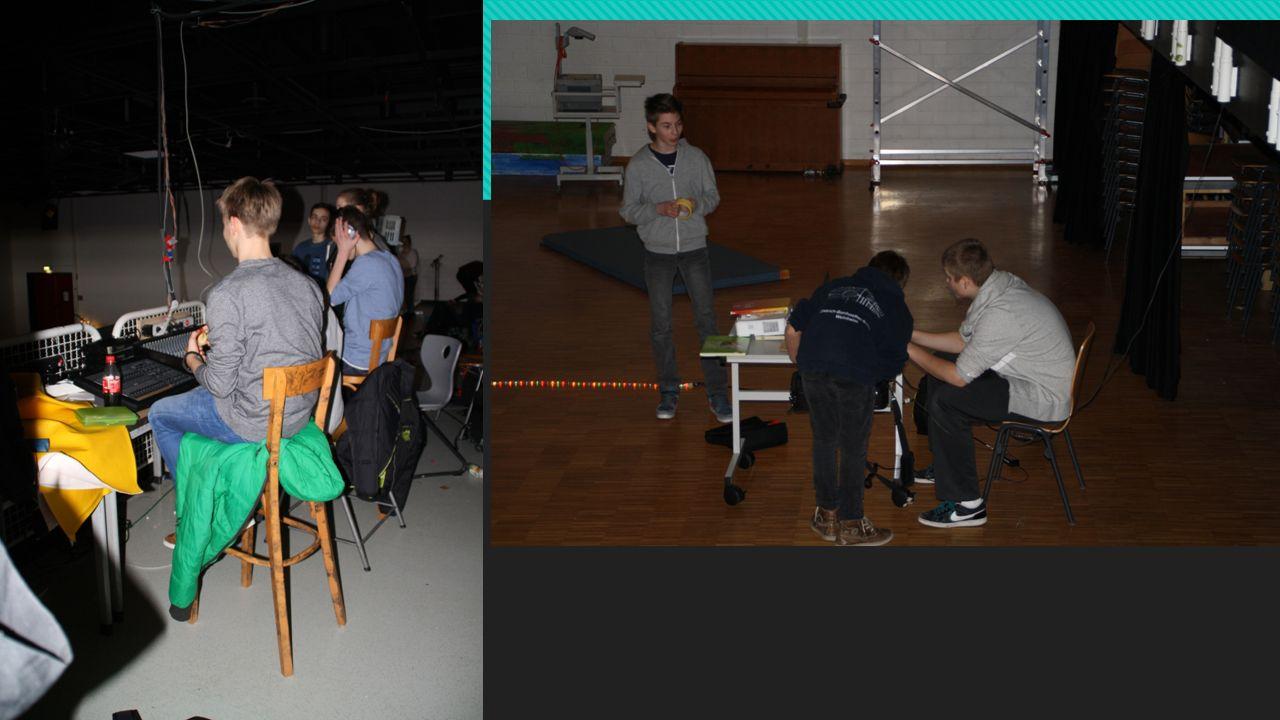 Technik Gruppe  Umgang mit dem Mischpult erlernt  Leinwand, Beamer und Laptop organisiert  Aufbau der Geräte  Vorführung des Films mit Ton über gr
