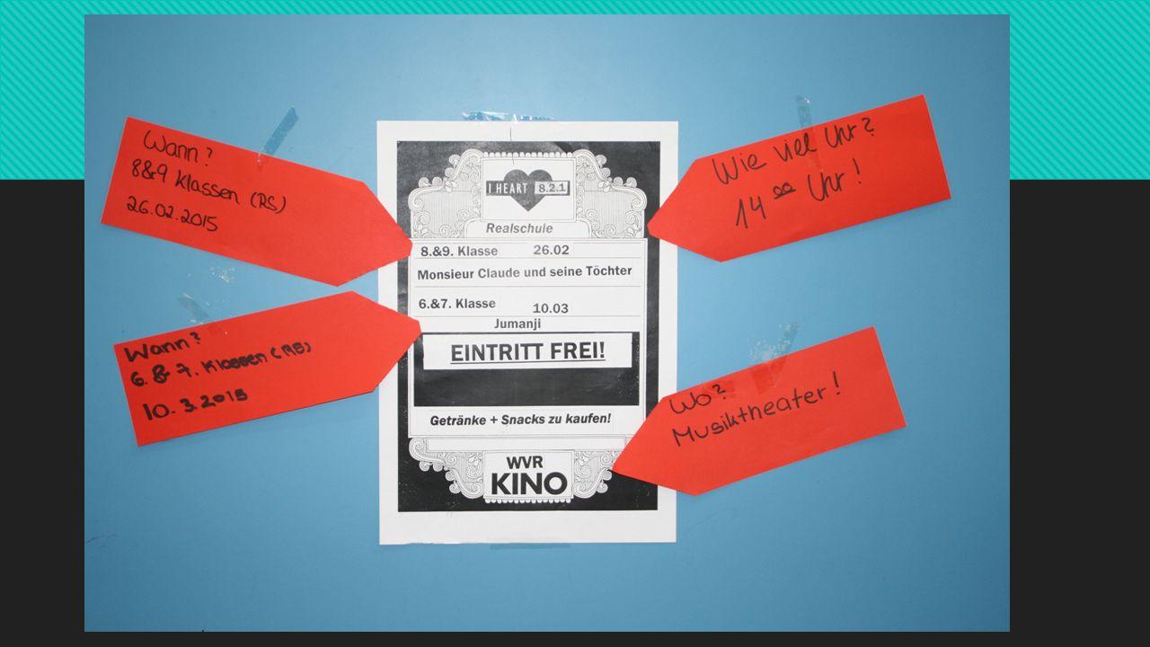 Werbe Gruppe  Infos auf Word geschrieben und ausgedruckt  Kleingeschnitten und auf Flyer geklebt  Flyer kopiert  Flyer im Schulhaus aufgehängt und