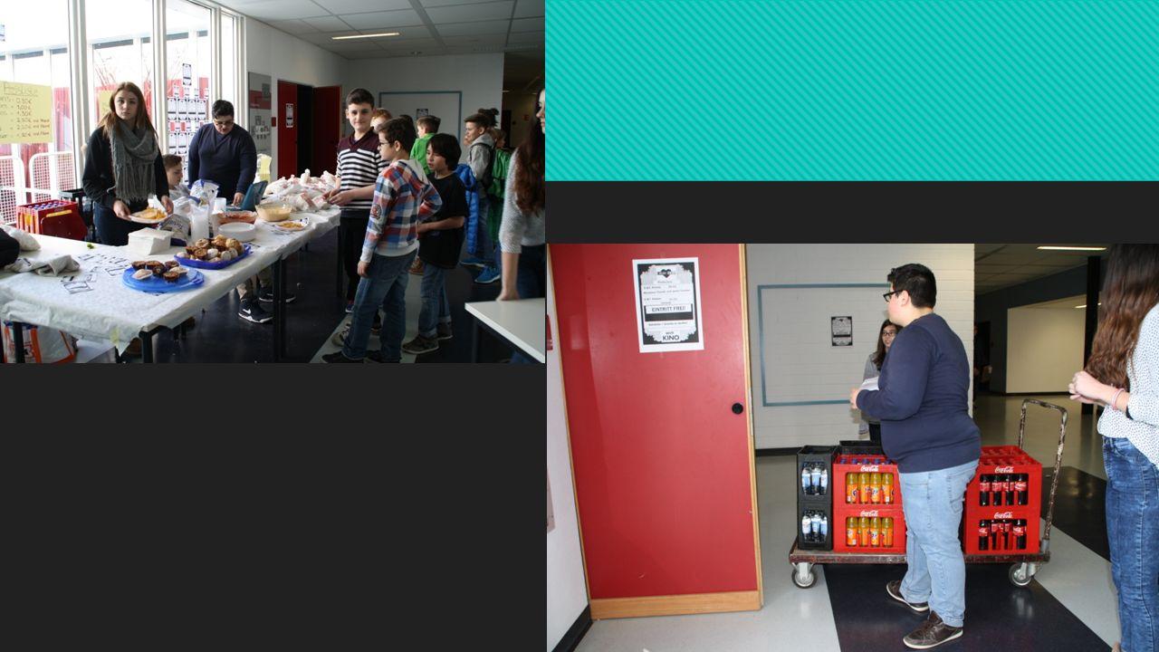 Catering Gruppe  Rezepte für Dips und Muffins recherchiert  Einkäufe: Zutaten  Herstellung von Popcorn  Bestellung von Getränken: Cola, Fanta und