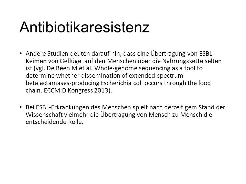 Antibiotikaresistenz Andere Studien deuten darauf hin, dass eine Übertragung von ESBL- Keimen von Geflügel auf den Menschen über die Nahrungskette selten ist (vgl.