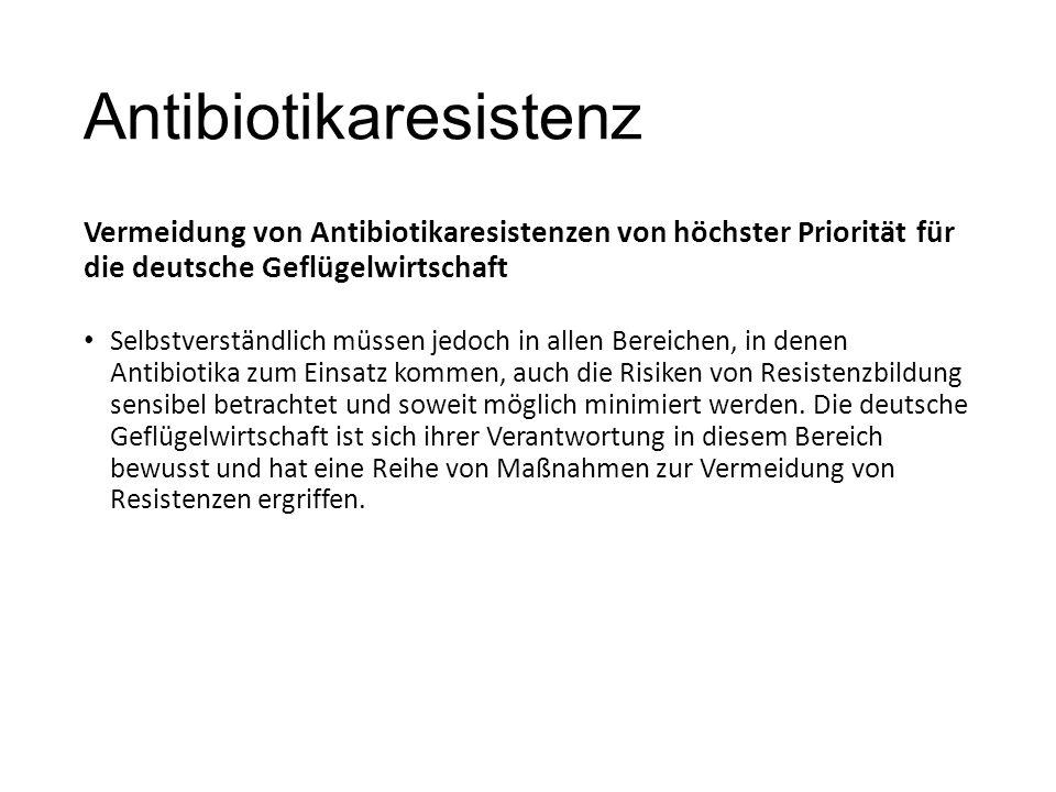Antibiotikaresistenz Vermeidung von Antibiotikaresistenzen von höchster Priorität für die deutsche Geflügelwirtschaft Selbstverständlich müssen jedoch