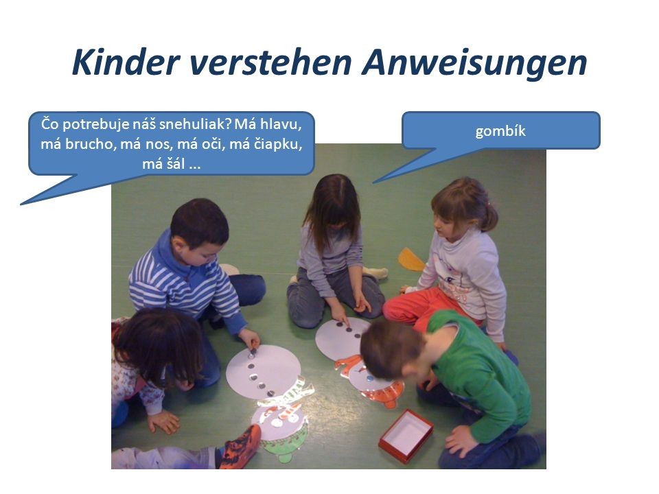 Kinder verstehen Anweisungen Čo potrebuje náš snehuliak? Má hlavu, má brucho, má nos, má oči, má čiapku, má šál... gombík