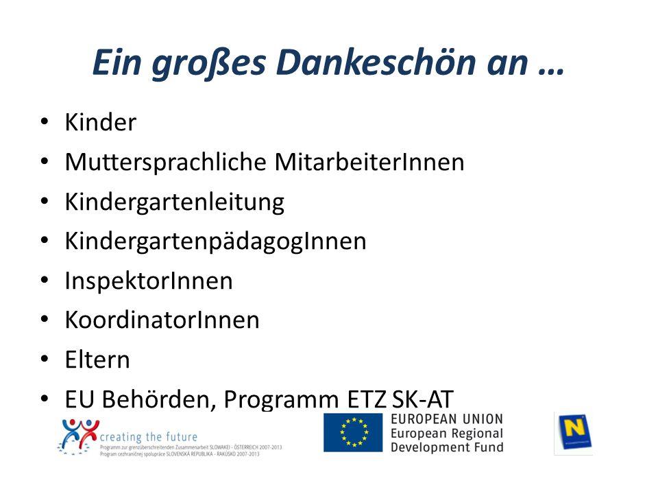 Ein großes Dankeschön an … Kinder Muttersprachliche MitarbeiterInnen Kindergartenleitung KindergartenpädagogInnen InspektorInnen KoordinatorInnen Eltern EU Behörden, Programm ETZ SK-AT