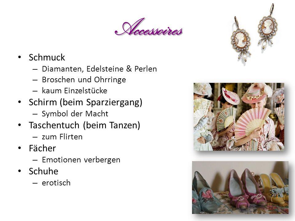Accessoires Schmuck – Diamanten, Edelsteine & Perlen – Broschen und Ohrringe – kaum Einzelstücke Schirm (beim Sparziergang) – Symbol der Macht Taschen