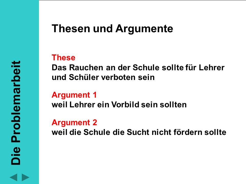 Thesen und Argumente sollten durch Beispiele veranschaulicht werden Thesen und Argumente These Argument 1 Argument 2 Beispiele These + Argumente + Beispiele ergeben einen Teilabschnitt.