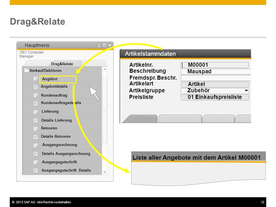 ©2013 SAP AG. Alle Rechte vorbehalten.12 Drag&Relate Liste aller Angebote mit dem Artikel M00001 Verkauf/Debitoren Lieferung Ausgangsrechnung Drag&Rel