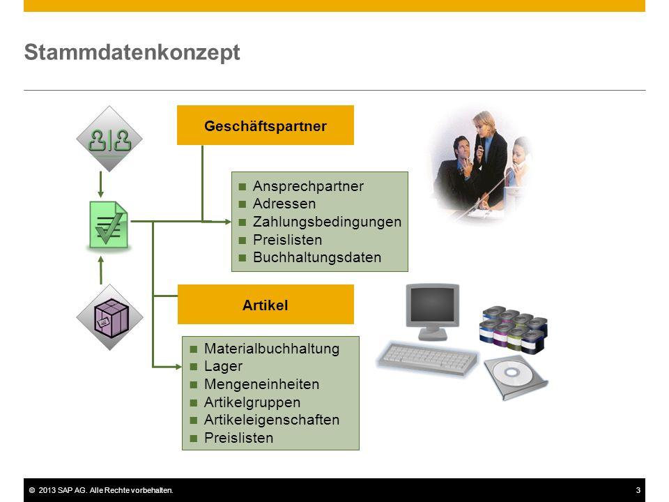 ©2013 SAP AG. Alle Rechte vorbehalten.3 Stammdatenkonzept Geschäftspartner Artikel Ansprechpartner Adressen Zahlungsbedingungen Preislisten Buchhaltun