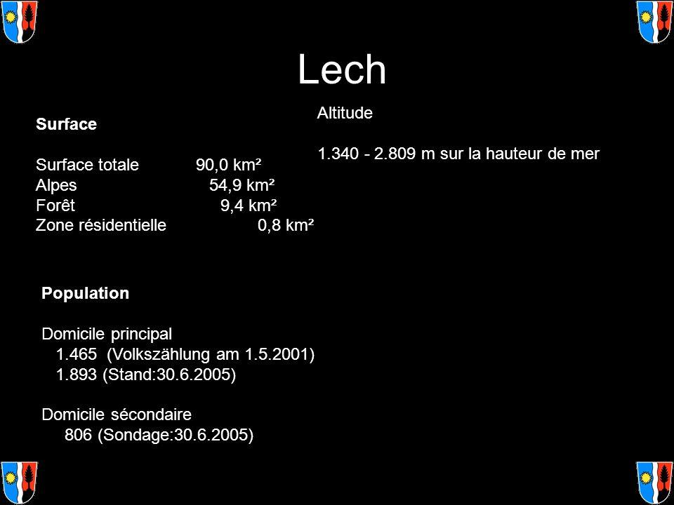 Lech Surface Surface totale 90,0 km² Alpes 54,9 km² Forêt 9,4 km² Zone résidentielle 0,8 km² Altitude 1.340 - 2.809 m sur la hauteur de mer Population
