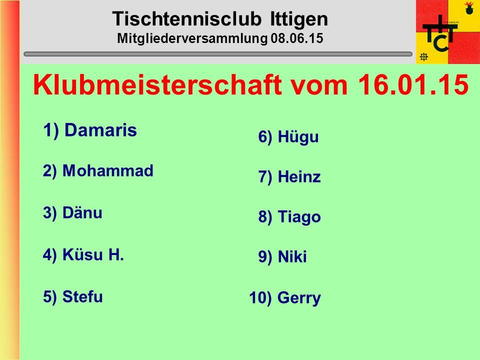 Tischtennisclub Ittigen Mitgliederversammlung 08.06.15 STT-Cup 1. Vorrunde Bern - Ittigen 14:1
