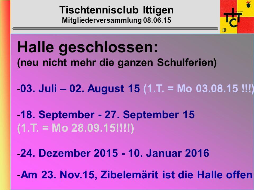 Tischtennisclub Ittigen Mitgliederversammlung 08.06.15 MTTV-/STT-Cup 2015/2016 STT-Cup gemäss Umfrage MTTV-Cup gemäss Umfrage