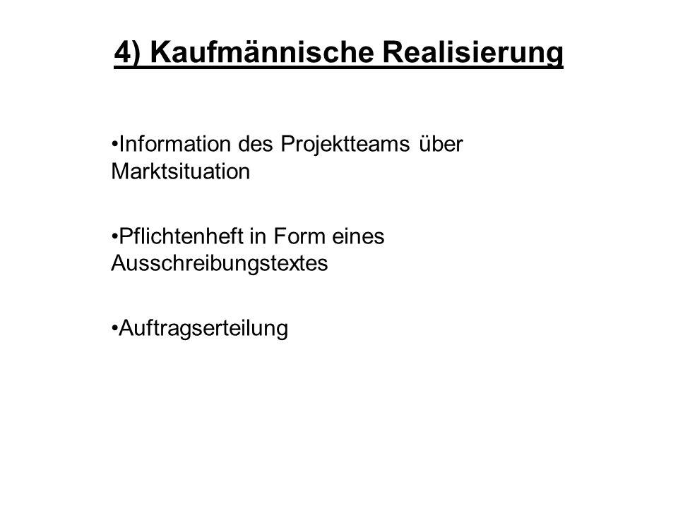4) Kaufmännische Realisierung Information des Projektteams über Marktsituation Pflichtenheft in Form eines Ausschreibungstextes Auftragserteilung