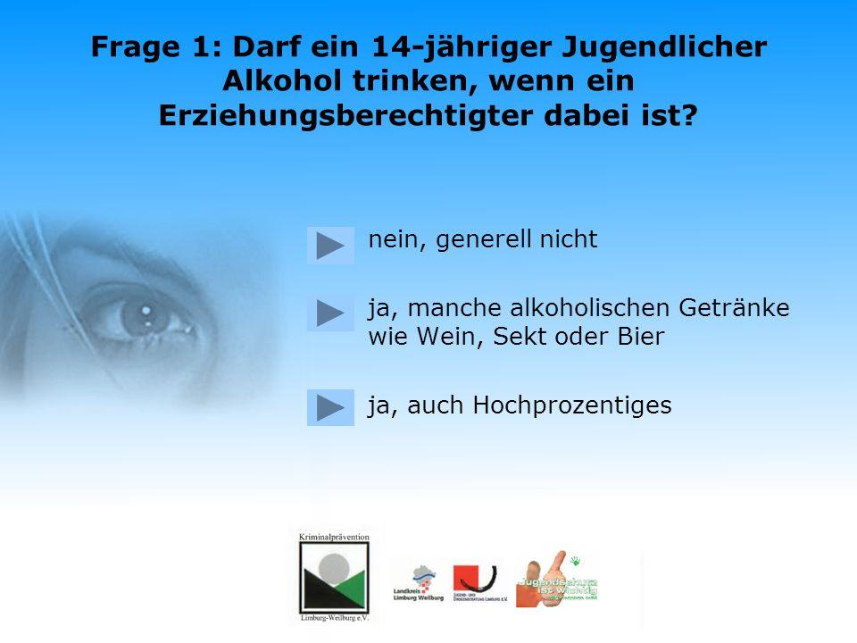 Das Jugendschutzquiz Was wisst ihr über das Jugendschutzgesetz? Das Quiz starten Eine Aktion der Kriminalprävention Limburg-Weilburg e.V. in Kooperati