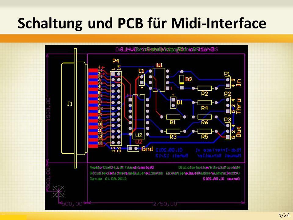 Schaltung und PCB für Midi-Interface 5/24