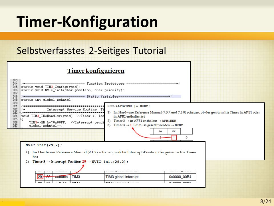 Timer-Konfiguration Selbstverfasstes 2-Seitiges Tutorial 8/24