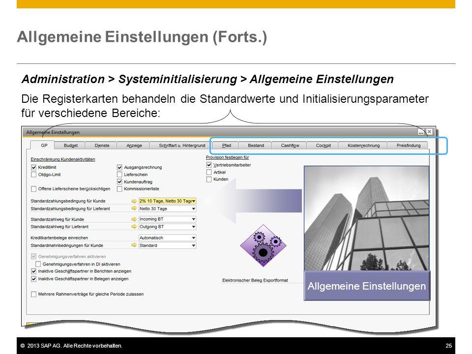 ©2013 SAP AG. Alle Rechte vorbehalten.25 Allgemeine Einstellungen (Forts.) Allgemeine Einstellungen Administration > Systeminitialisierung > Allgemein