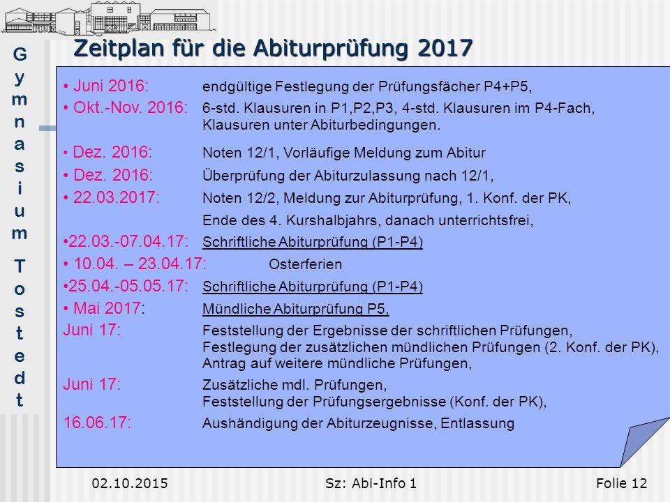 GymnasiumTostedtGymnasiumTostedt 02.10.2015Sz: Abi-Info 1Folie 12 Zeitplan für die Abiturprüfung 2017 Juni 2016: endgültige Festlegung der Prüfungsfächer P4+P5, Okt.-Nov.